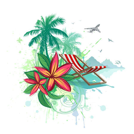 Palms, beach chair, plumeria flowers, airplane. Vector