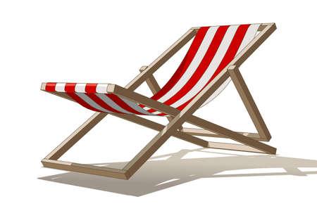 strandstoel: Vector illustratie van een ligstoel op witte achtergrond Stock Illustratie