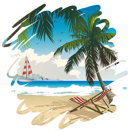 holyday: Vector illustration of tropical beach Illustration