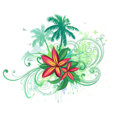 frangipani flower: Vector palms and plumeria flowers.