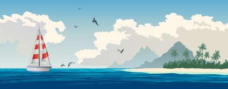 white sand beach: Turquoise ocean, tropical island, palm trees, white sand beach, yacht, seagulls, dolphins