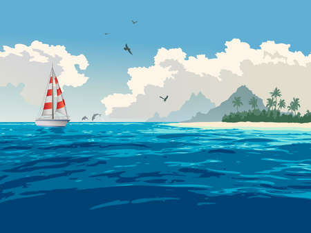 Ocean, tropical island, palm trees, white sand beach, yacht, seagulls, dolphins Vector