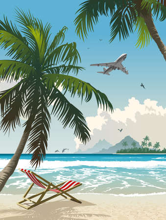 Vector illustration of the tropical beach illustration