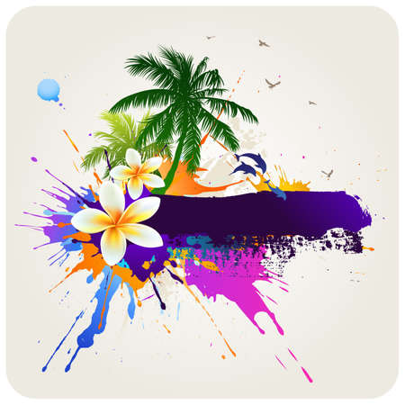 hawaiian: Abstract tropical background with space for text