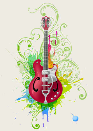 Vector electric guitar on grunge floral background photo