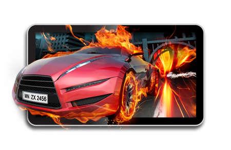 red sports car: 3D TV. Burning car on TV screen.