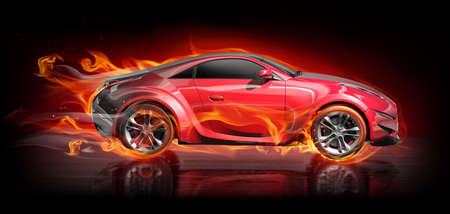 fire car: Burnout car