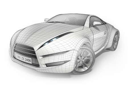 Wireframe car. Original car design. Stock Photo