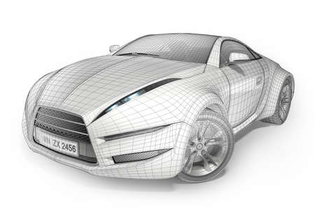 Wireframe car. Original car design. Stock Photo