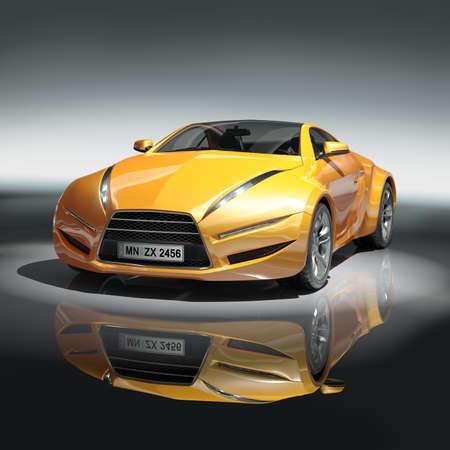 prototipo: Automóvil deportivo de color amarillo. Diseño original de los coches.  Foto de archivo
