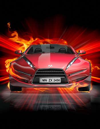 burnout: Feuer-Auto