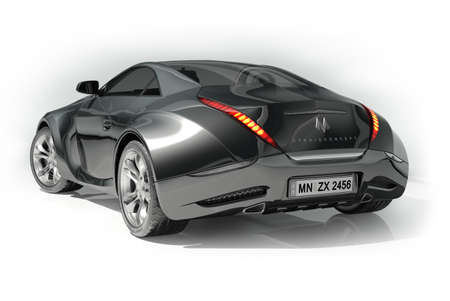 prototype: Black sports car. Logo on the car is fictitious. Stock Photo