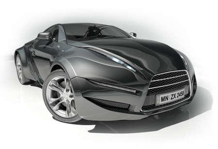 prototipo: Automóvil deportivo negro. Diseño original de los coches.
