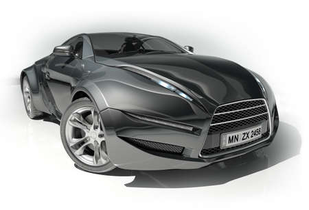 Black sports car. Original car design.