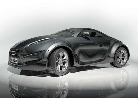 prototype: Black sports car. Original car design.