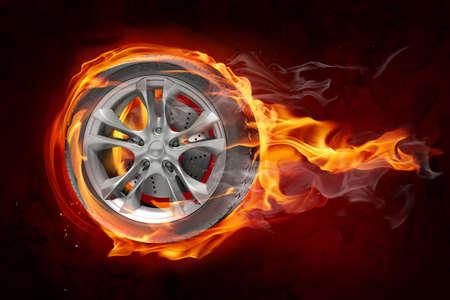 aluminum wheels: Quema de rueda  Foto de archivo