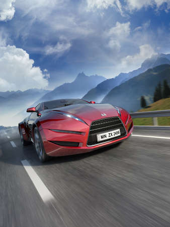 shiny car: Sport auto op de weg  Stockfoto