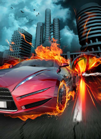 fire car: Race. Original car design. Stock Photo