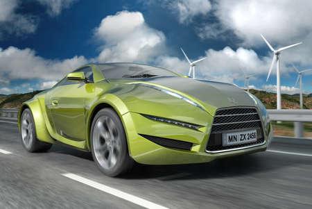 prototipo: Coche de concepto verde. Diseño original de los coches.