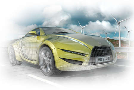 Green sports car. Original car design.