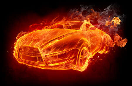 Fire car on a black background Stock Photo