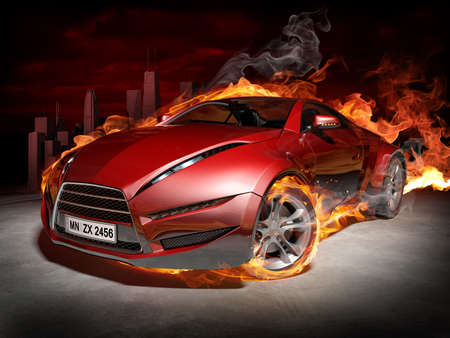 fiery: Sports car burnout