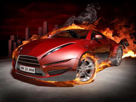Sports car burnout Stock Photo - 7599644