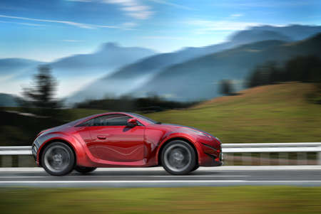 Sports car on a road Stock Photo - 7599571