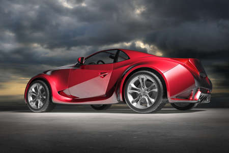 Red sports car. Original car design. Stock Photo