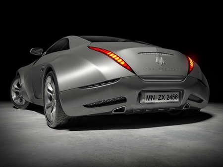 Aluminum sports car on black. Logo on the car is fictitious.