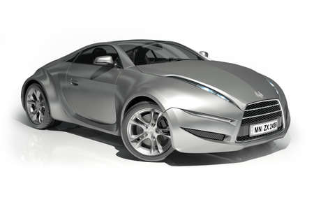 prototype: Aluminum sports car isolated on white. Logo on the car is fictitious.