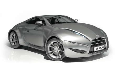 prototipo: Automóvil deportivo de aluminio aislado en blanco. Logotipo en el coche es ficticia.