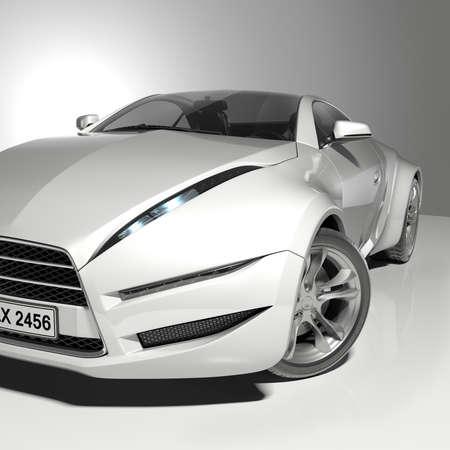 prototipo: Automóvil deportivo blanco. Diseño original de los coches.