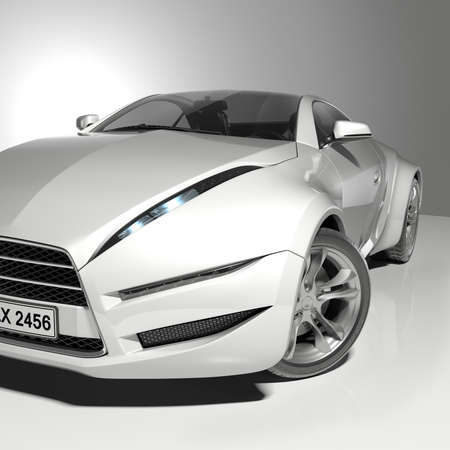 White sports car. Original car design.
