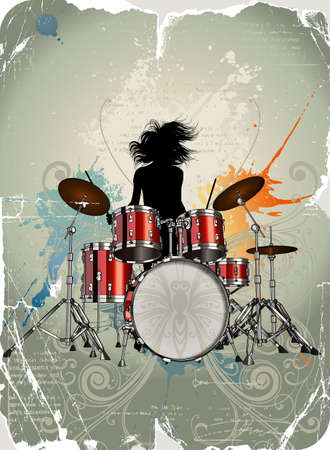Girl play the drums Stock Photo