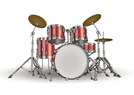 snare drum: Vector drum kit Stock Photo