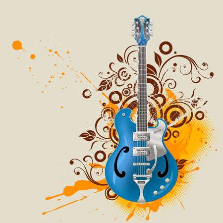 Guitar on grunge background photo