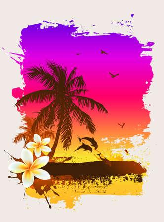plumeria flower: Tropical sunset Stock Photo