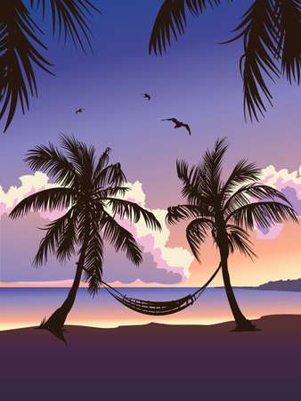 tropical paradise: Tropical paradise sunset