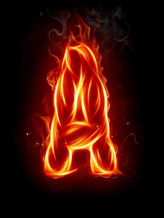 fiery font: Fire letter Stock Photo
