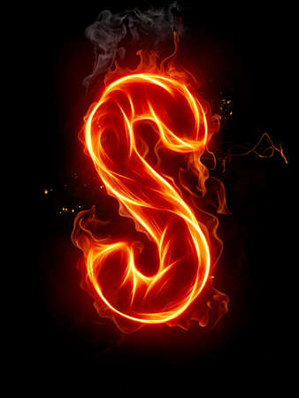 fiery: Fire letter Stock Photo