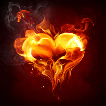 fiery: Burning heart Stock Photo