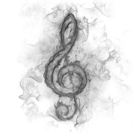 Treble clef - smoke