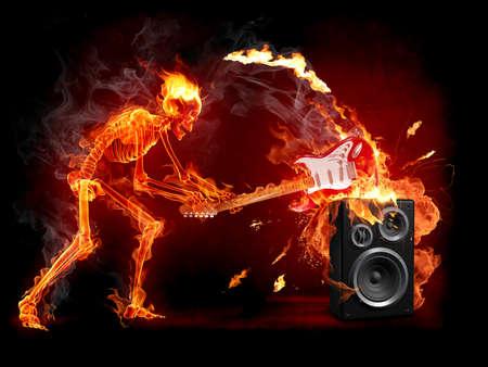 esqueleto: Esqueleto de fuego  Foto de archivo