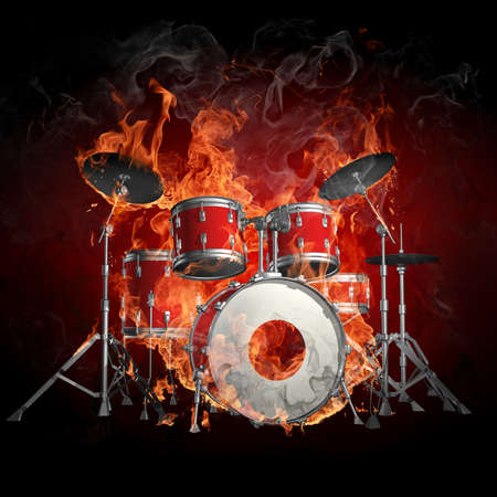 drum and bass: Burning drum kit Stock Photo