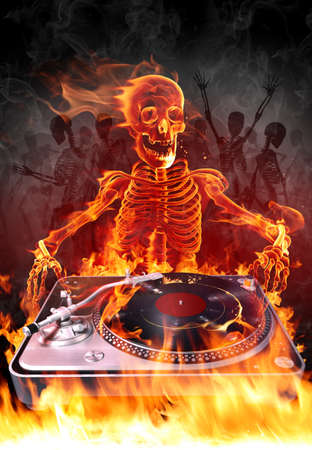 fire skull: Fire DJ Stock Photo
