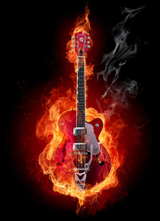 rock   roll: Burning guitar