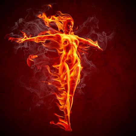 lángok: Tűz lány Stock fotó