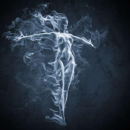 ghost face: Effetto ragazza - fumo  Archivio Fotografico