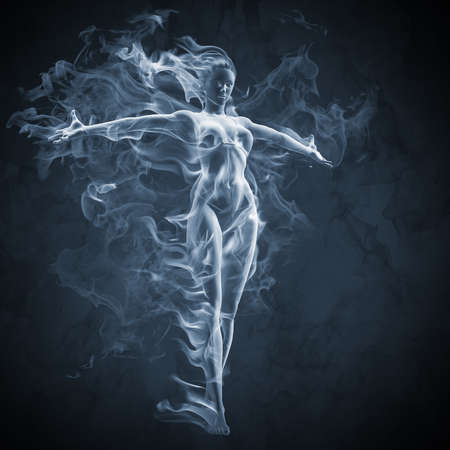 black smoke: Girl - smoke effect